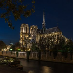 golden hour at Notre Dame de Paris